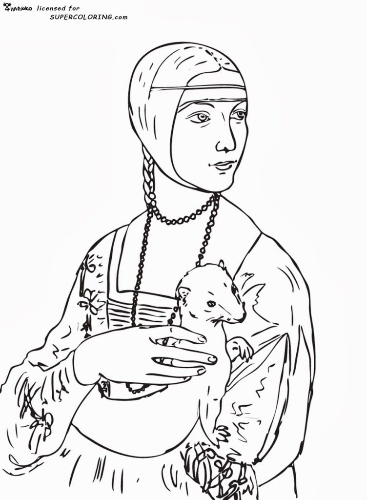Lady-with-an-Ermine-by-Leonardo-da-Vinci-coloring-page